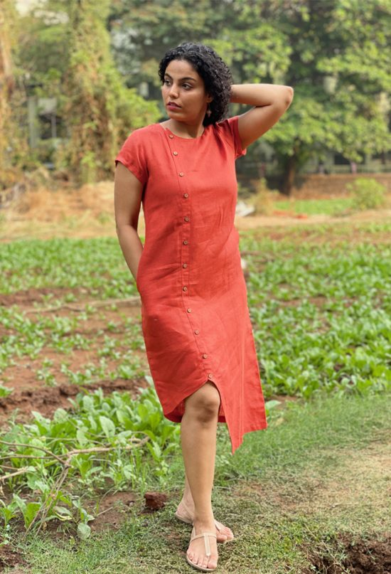 0Asymmetric Hem Linen Dress – Title Image